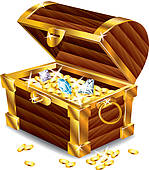 ... opened treasure chest with treasures