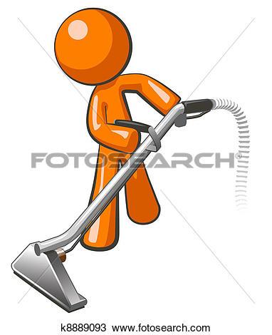 Orange Man with Steam Cleaner Carpet Wand