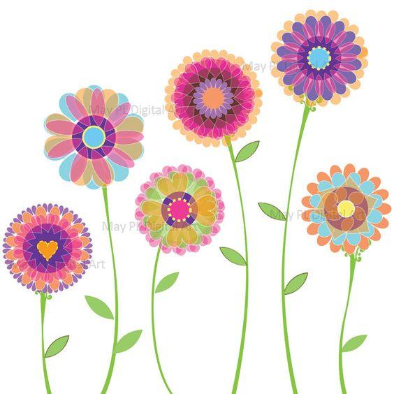 Orange Pink Flowers Clipart Spring Flowers Decorations Digital Clip Art for Wedding Birthday Scrapbook Make Your