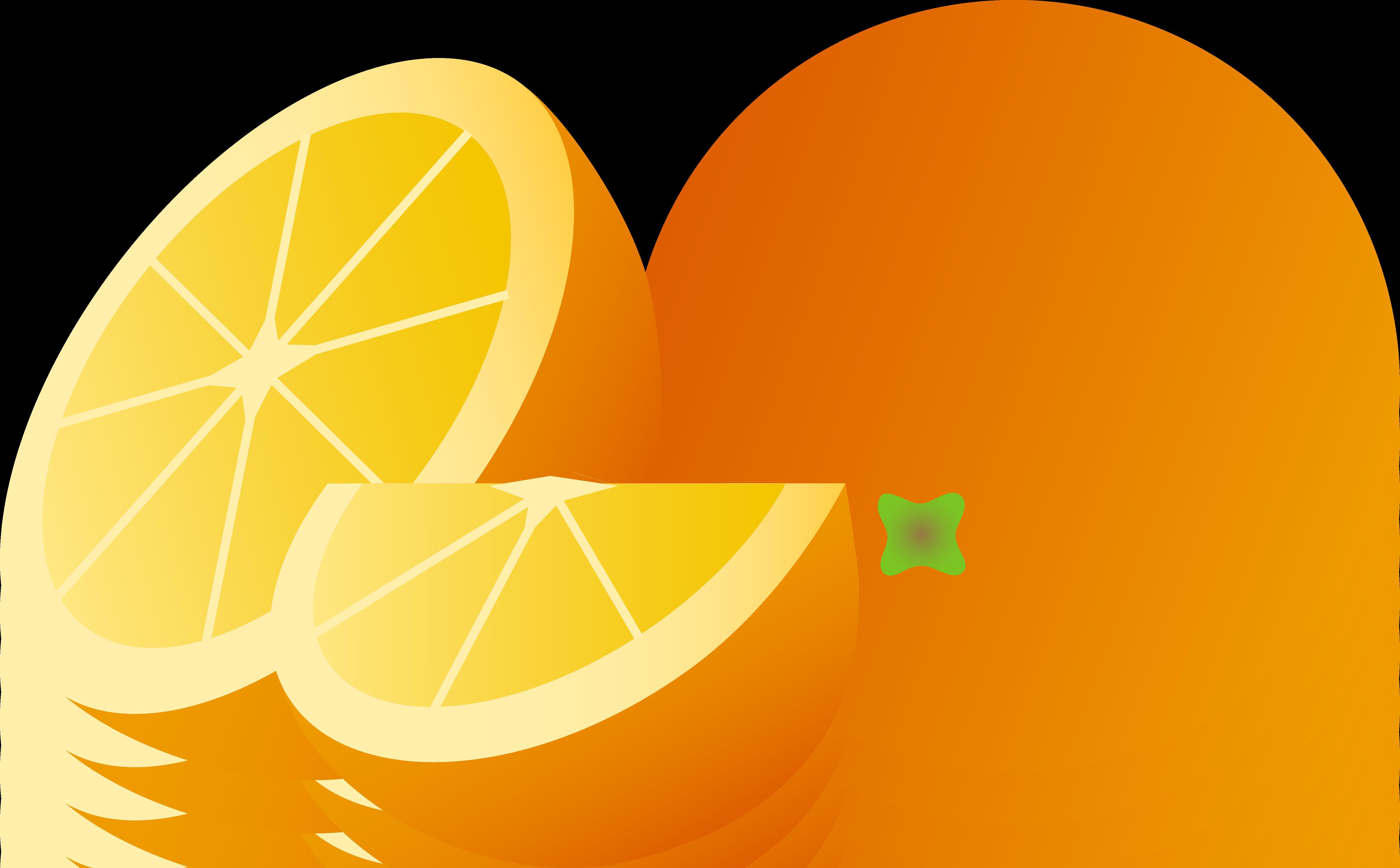 Orange Whole Half and Wedge - Free Clip Art