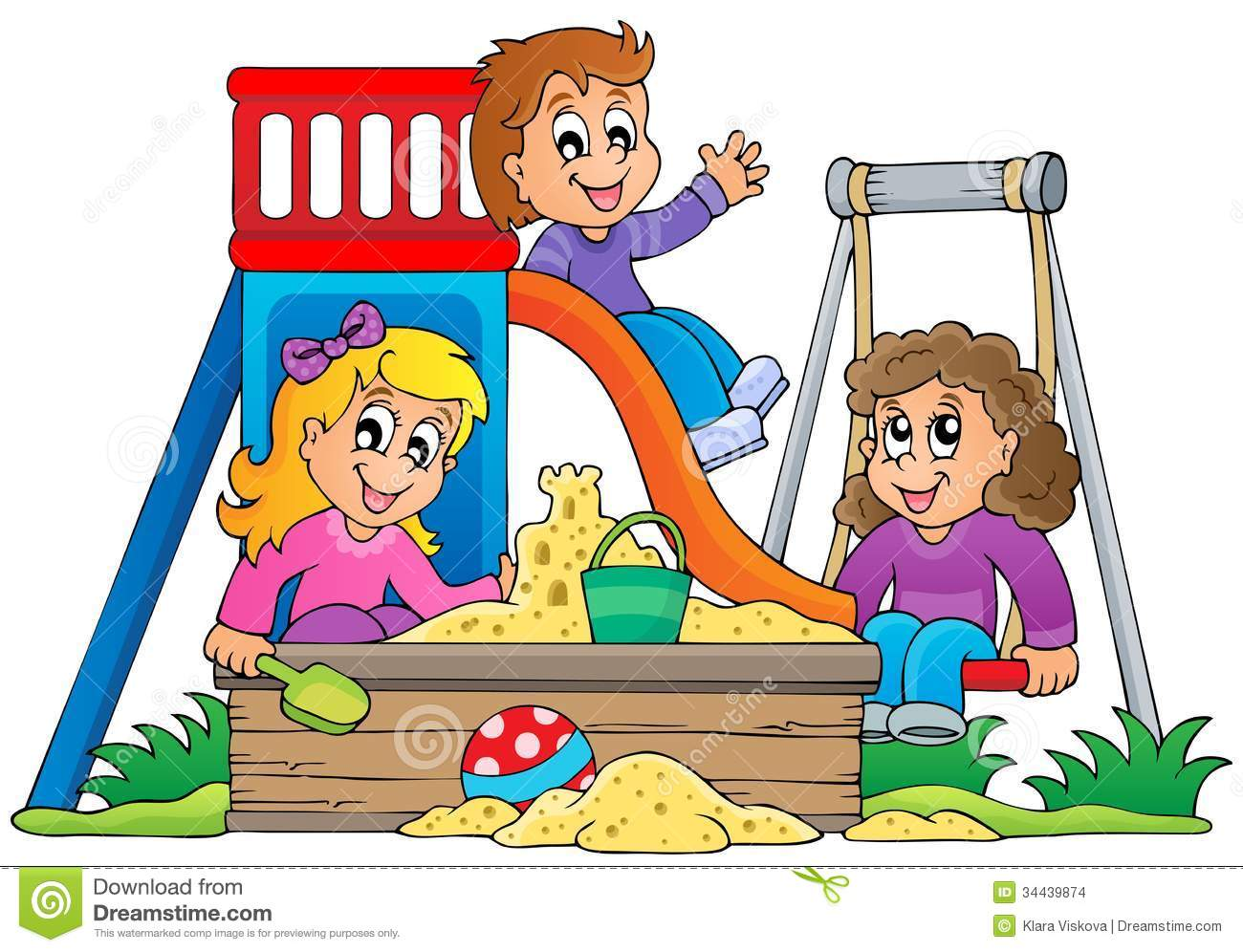Outdoor Play Clipart Image With Playground Theme 1