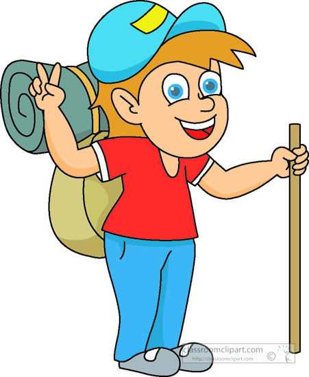 Outdoors Hiker With Backpack Sleeping Bag Classroom Clipart