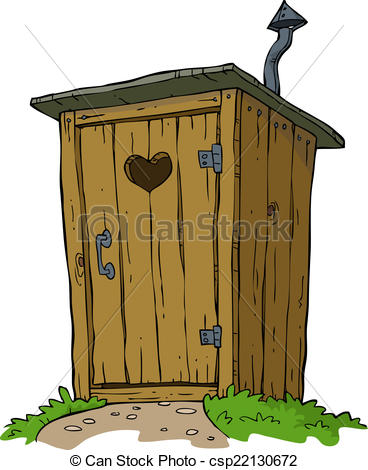 Outhouse Drawingby blamb12/661; Rural toilet on white background vector illustration