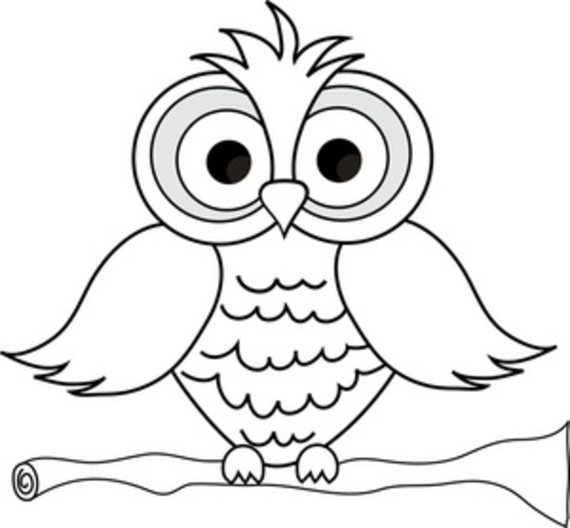 Owl Clipart Black And White - . Wise Owl With Big Eyes On A ..