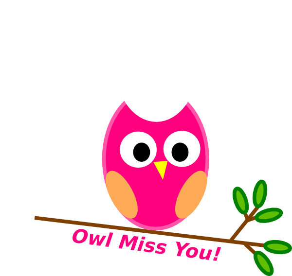 Owl Miss You Pink clip art .
