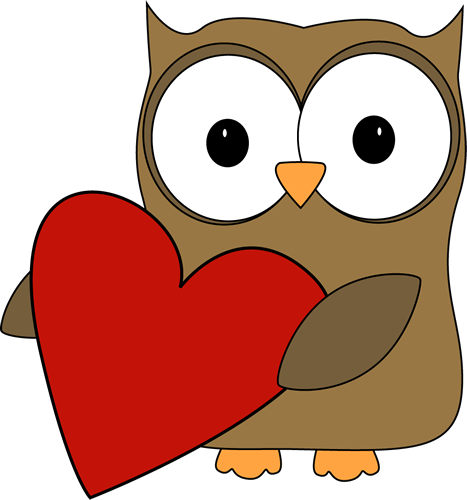 Owl with a Big Valentine Heart