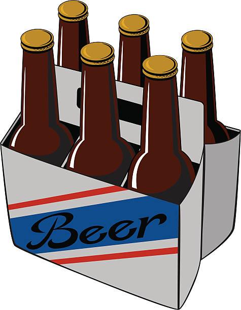Beer Six Pack vector art illustration