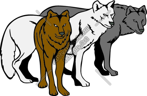 Clipart/Vector Art of: Pack Of Wolves