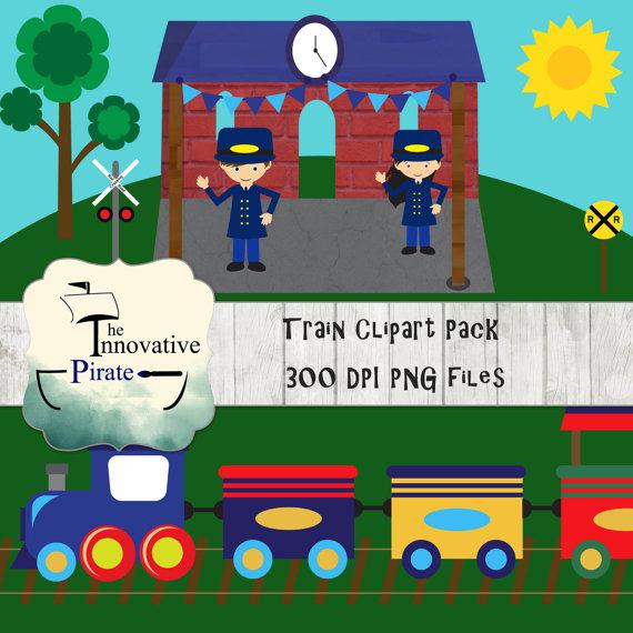 Train Clipart Pack - Locomotive Clipart - Railroad clipart - Conductor  Clipart - train track clipart -travel clipart -transportation clipart from  ClipartLook.com