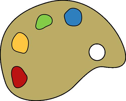 Paint Palette Clip Art Image - paint palette with colorful paints.