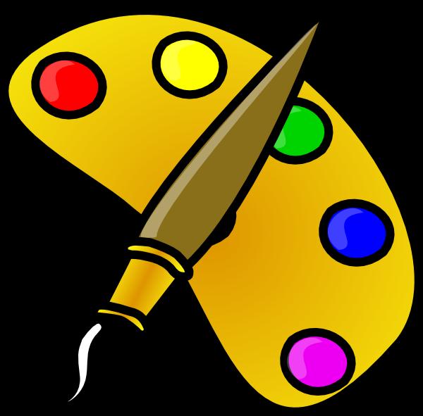 Painter Color Palette With Brush Cartoon Clip Art At Clker Com
