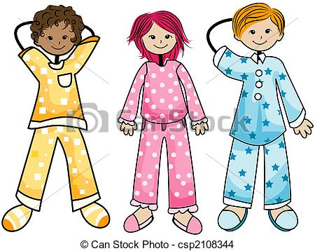... Pajama Kids with Clipping Path