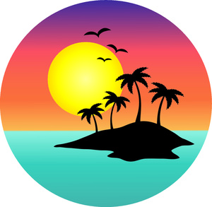 Palm Tree Sunset Clipart .