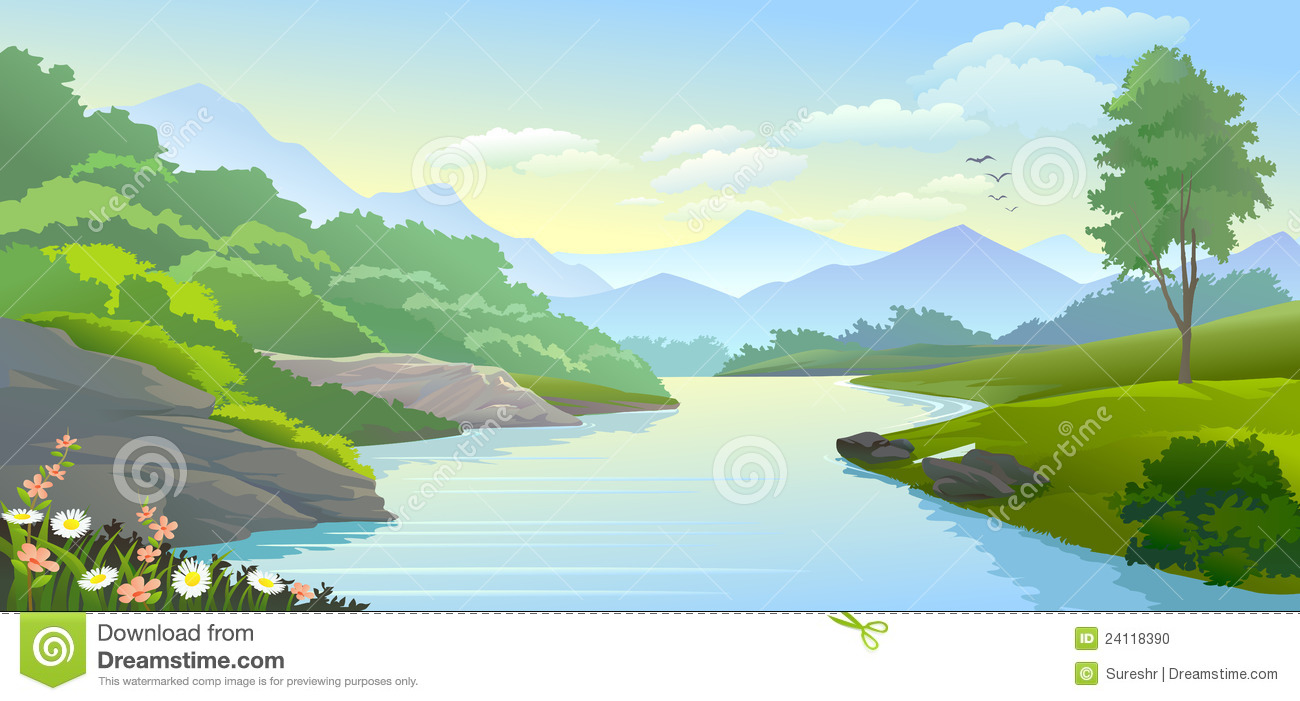 Panoramic View Of River Flowing In A Valley With Scenic Surroundings