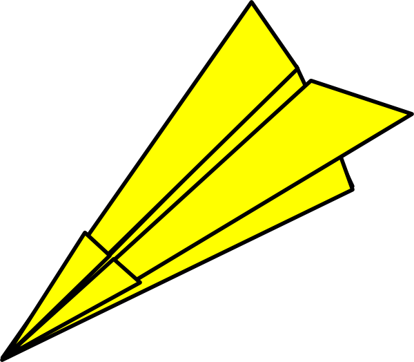Paper Airplane Clipart u0026middot; Yellow Paperplane At Vector Online