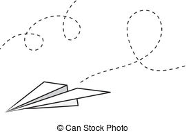 Paper Airplane - Isolated paper airplane with flying trail.
