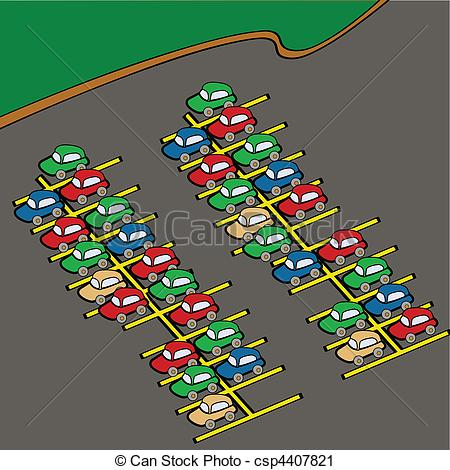 ... Parking lot - Cartoon illustration of different colored cars.