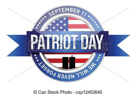 ... patriot day. us seal and banner illustration design