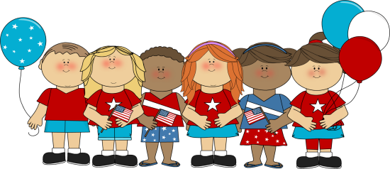 Patriotic Kids Clip Art Image - kids celebrating the fourth of July, wearing red, white and blue attire, holding flags and balloons.