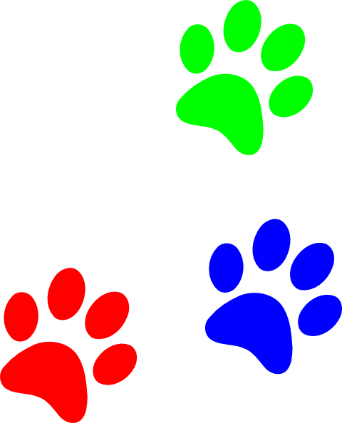 Colorful Paw Print Clipart #1