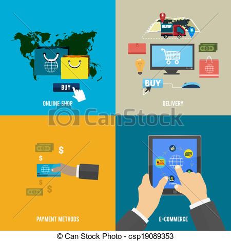 online shop, e-commerce, payment and delivery - csp19089353