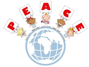 Peace Clipart Image: Angels Holding Cards Saying P-E-A-C-E And Standing  Around The Globe.