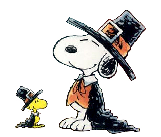 Peanuts Snoopy Woodstock Pilgrim Thanksgiving Cartoon Clipart