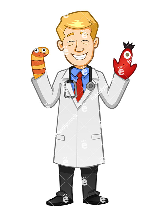 A Comforting Pediatrician Wearing Two Muppets In His Hands And Smiling -  Cartoon Vector Clipart