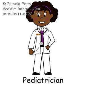 Clip Art Illustration of a African American Lady Doctor, a Pediatrician