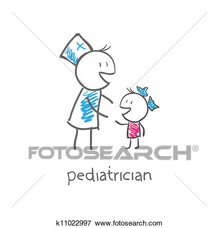 Clip Art - pediatrician with child. Fotosearch - Search Clipart,  Illustration Posters, Drawings