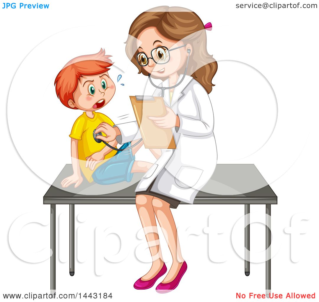 Clipart of a White Boy And Pediatrician - Royalty Free Vector Illustration  by Graphics RF