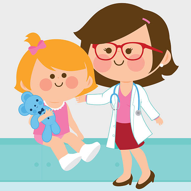 Female pediatrician examining a little girl vector art illustration