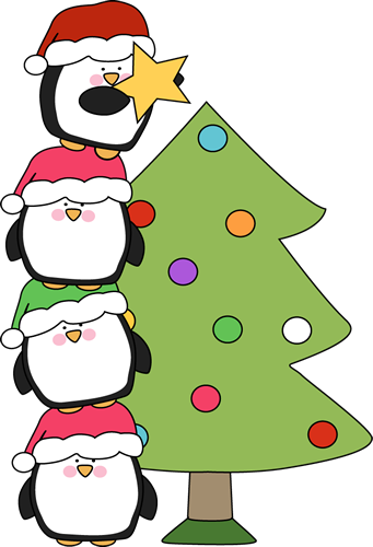 Penguins Putting a Star on a Christmas Tree