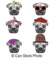 French bulldog icons Vector Clipartby zozodesign2/152 Pugs set of icons -  pugs with different hats female and male.