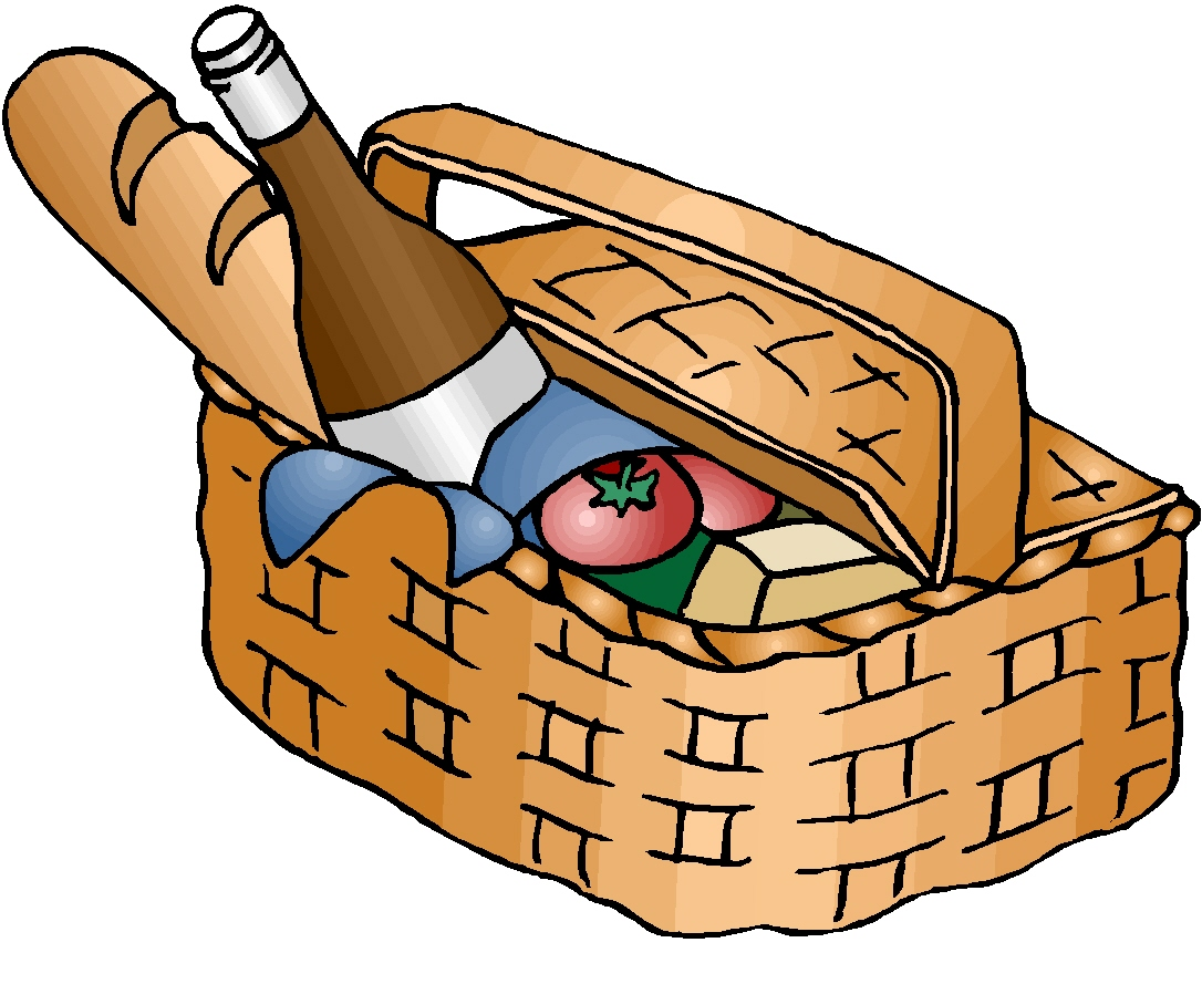 picnic basket clip art black and white