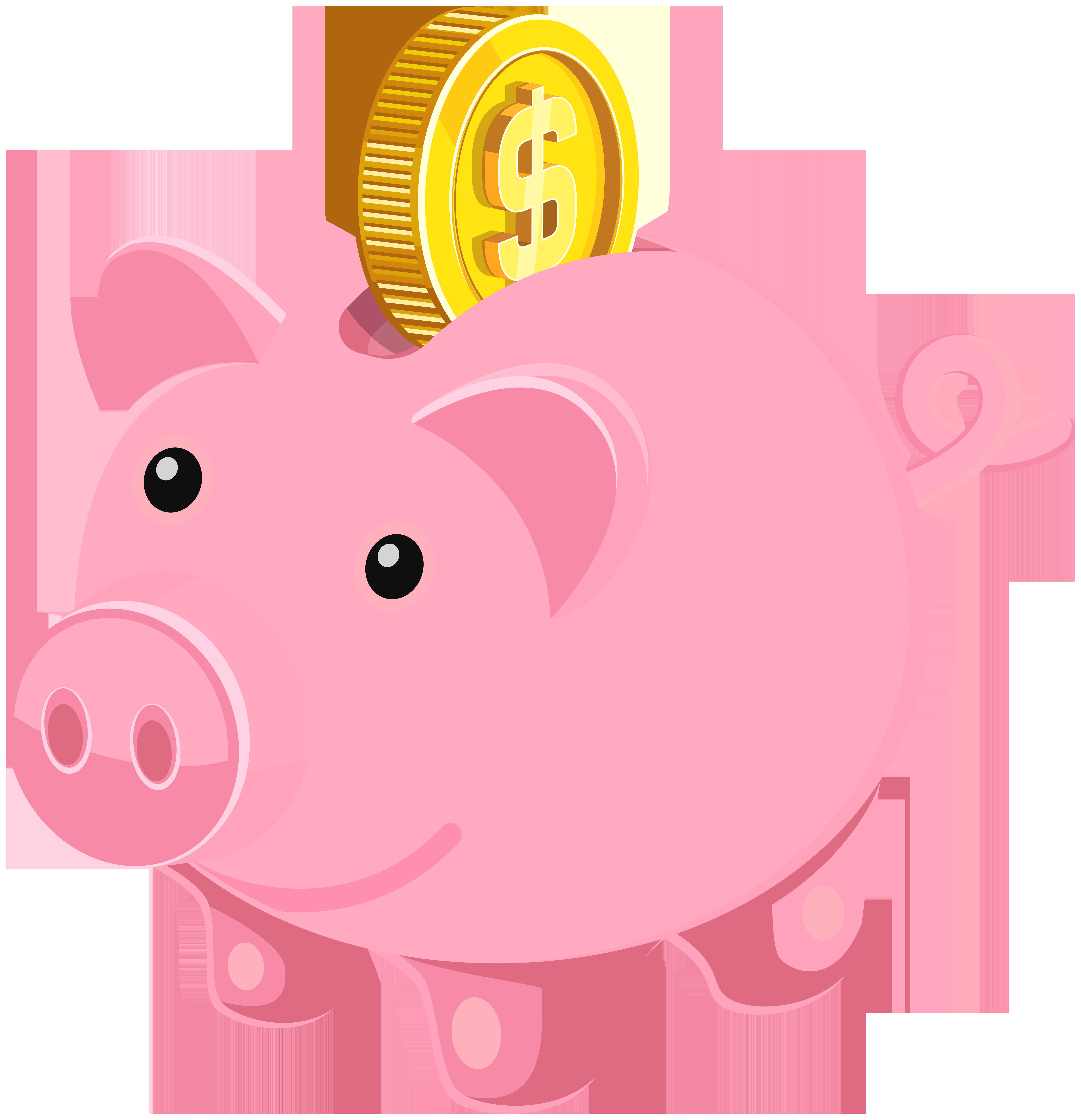 Cartoon piggy bank clipart example
