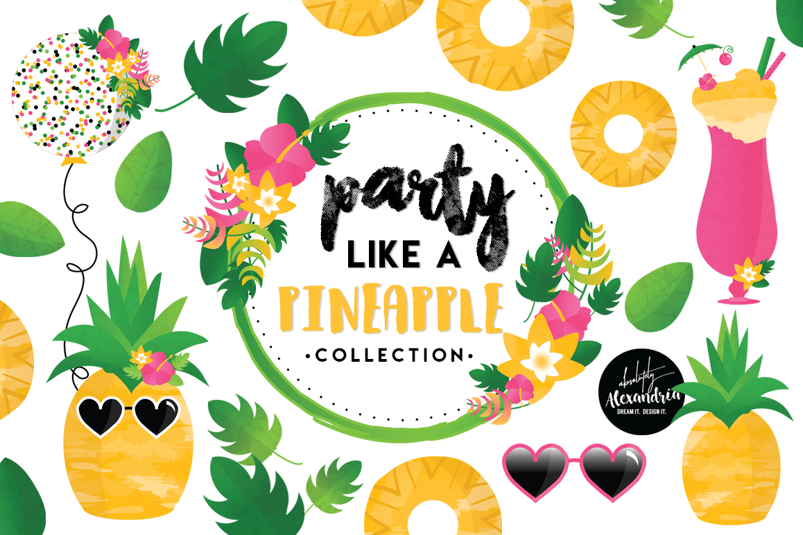 Party Like A Pineapple Clipart Graphics u0026 Digital Paper Patterns Bundle  example image 1