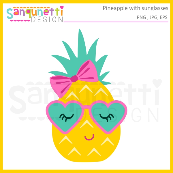 Pineapple with sunglasses clipart