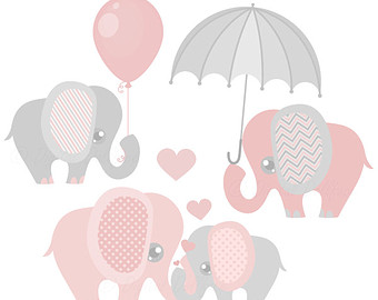 Pink and Grey Elephant Clip Art, Elephant Baby Shower Graphics, Nursery Clipart