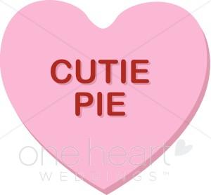 Pink Cutie Pie Candy Conversation Heart Clipart
