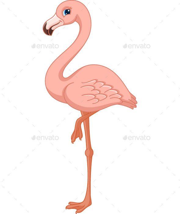 Pink Flamingo (CS, animal, bird, cartoon, character, clip art,