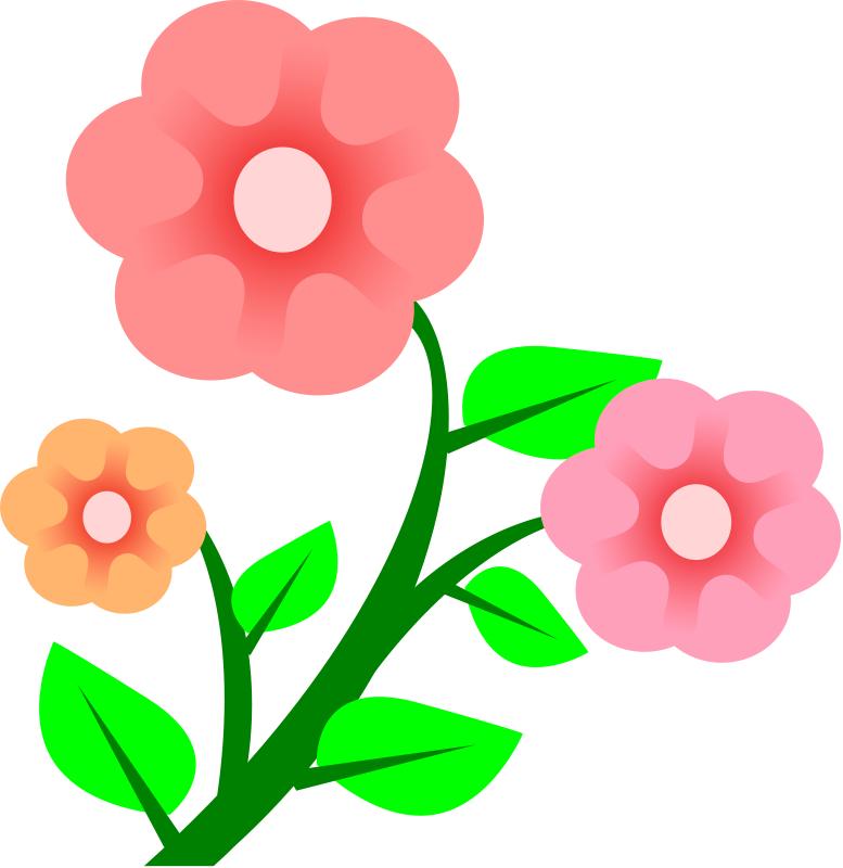 pink flowers spring flower divider clipart