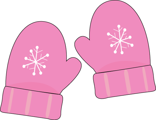 Pink Mittens Clip Art Pair Of Pink Mittens With A Snowflake Pattern