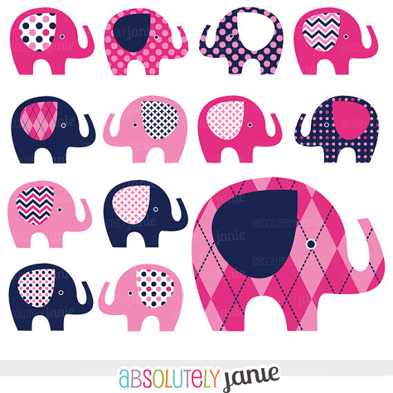 Pink Navy Baby Elephant Digital Clipart Preppy Girly Clip Art