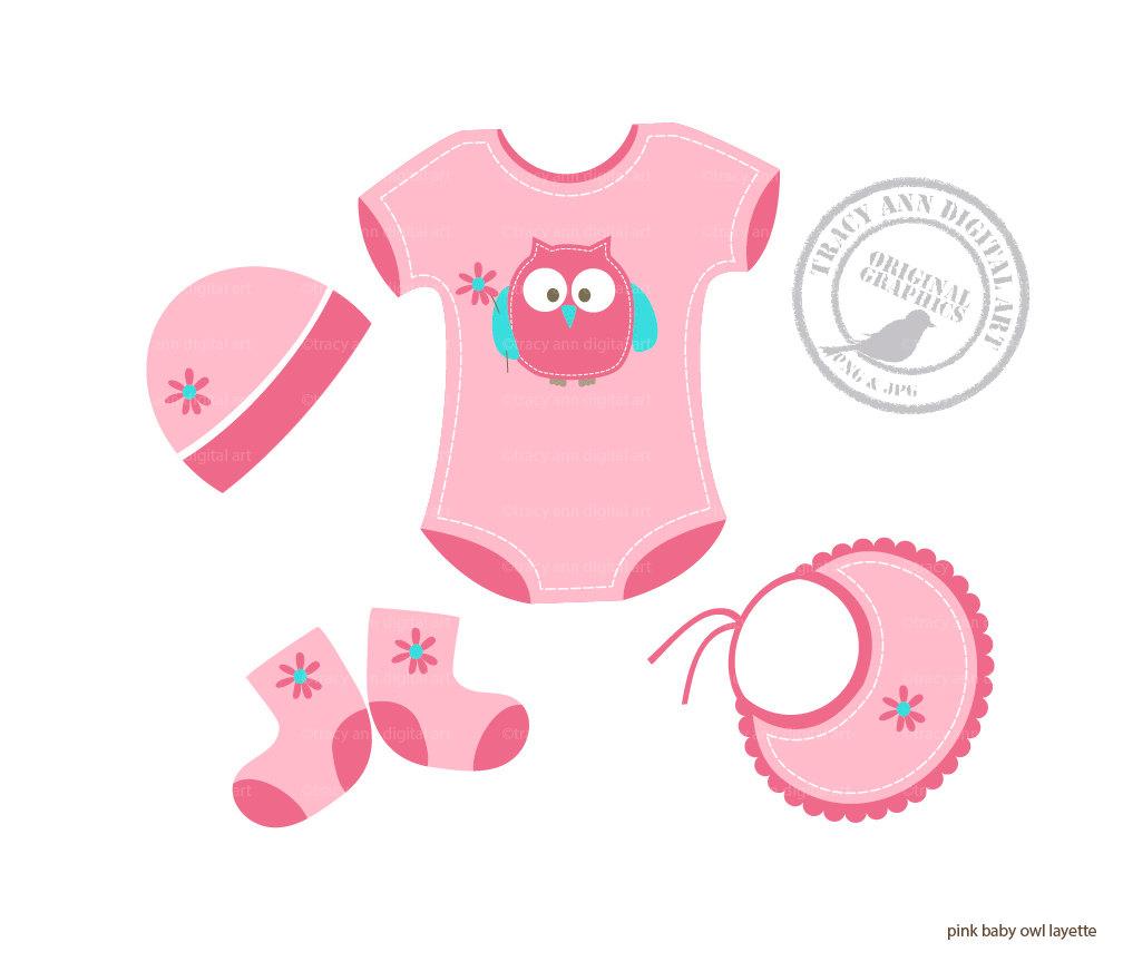 Pink Owl Baby Girl Layette Clip Art Baby By Tracyanndigitalart