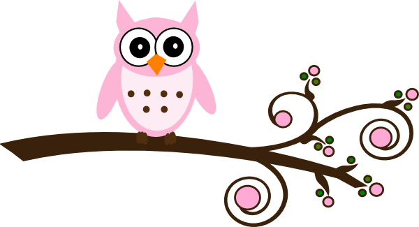 Pink Owl On Branch Clip Art At Clker Com Vector Clip Art Online