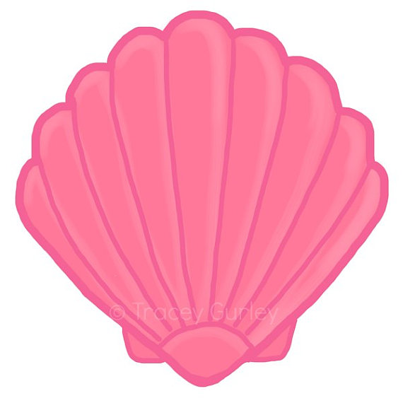 Pink Scallop Seashell Clipart
