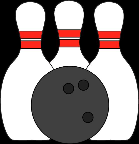 Pins And Ball Clip Art Image Three Bowling Pins With A Bowling Ball
