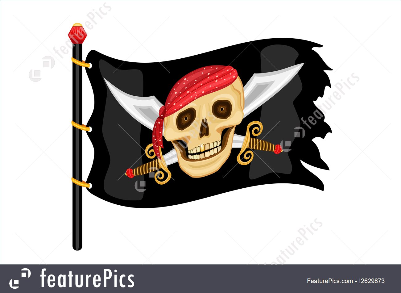 Flags: The Jolly Roger - pirate flag waving in the wind. Vector file saved