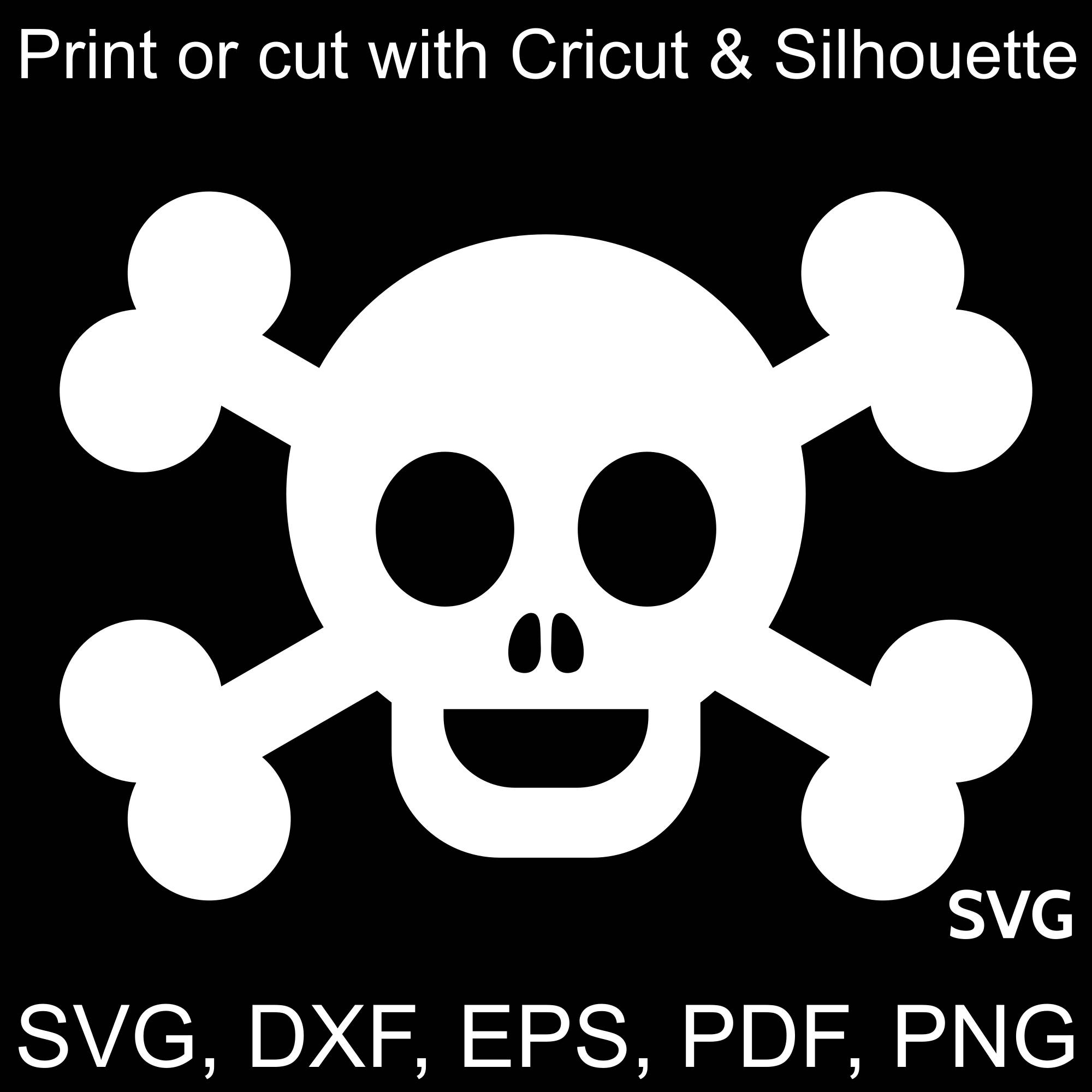 Happy Pirate Flag SVG file, Skull and Bones clipart printable and cut file  to make Pirate gifts and invitations for Pirate Birthday parties